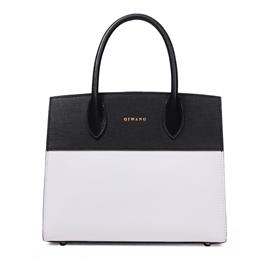 Real Leather Women Handbag Fashion Black and White Patchwork Tote Bag