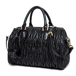 Boston Bags Lambskin Leather Handbag Genuine Leather Ruched Bag