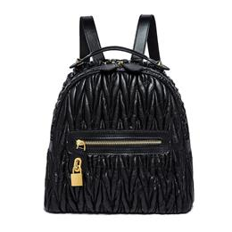 Genuine Leather Backpack Women Lambskin Black Bag Luxury Women Backpack