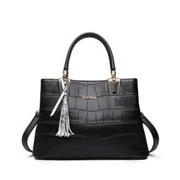 Cowhide Leather Handbags Woman Tote Elegant Alligator Pattern Solid Lea...