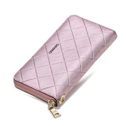 Pink Wallet Fashion Genuine Leather Women Purse Zipper Around Wallet Female