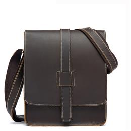 Men's Leather Shoulder Bag Vintage Crazy Horse Genuine Leather Men B...