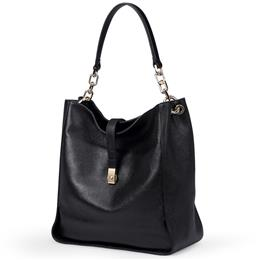 Black Soft Genuine Leather Women Hobo Bag Leather Gold Logo Brand Work Handbag
