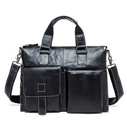 Genuine Leather Men Bag Men Briefcases male Leather business Computer La...