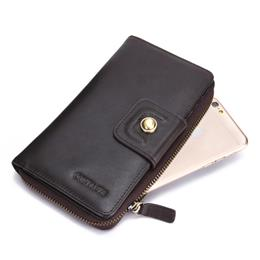 Men Wallet Genuine Leather Vintage Casual Long Business Male Clutch Wall...