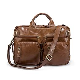 Genuine Leather Men Bag Men's Briefcases 14inch Leather Laptop Bag business Male men travel Tote crossbody Bags