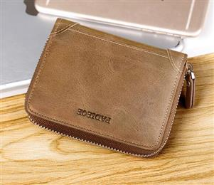 Hot Sale Men's Money Organizer Vintage Genuine Leather Zipper Wallet...