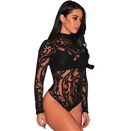 Body Femme Sexy Turtleneck Transparent Bodysuit