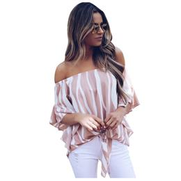 Autumn Blouse Shirt Women Off The Shoulder Vertical Half Sleeve Stripes Tops