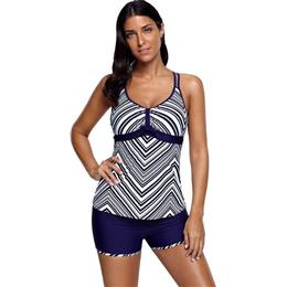 Vintage Navy Blue Stripes Tankini Set Women Swimwear Padded Push Up Swim...