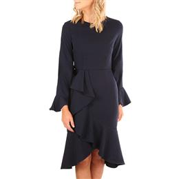 Women Delicate Ruffle Accent Bell Sleeve Midi Dress
