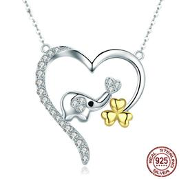 New Trendy 100% 925 Sterling Silver Animal Little Elephant in Heart Shape Pendant Necklaces