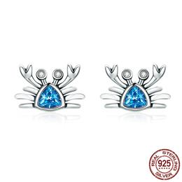 100% 925 Sterling Silver Cute Ocean Crab Small Blue CZ Stud Earrings