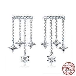 925 Sterling Silver Twinkling Star Long Tassel Chain Drop Earrings