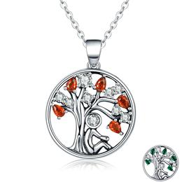 Hot Sale 100% 925 Sterling Silver 2 Color Tree of Life AAA Zircon Pendant Necklaces