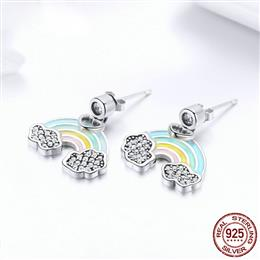 925 Sterling Silver Fashion Heart Colorful Enamel Rainbow Stud Earrings