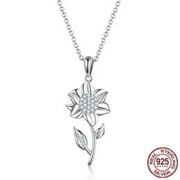 High Quality 100% 925 Sterling Silver Elegant Sunflower Flower Female Necklaces Pendant