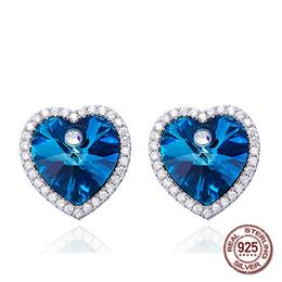 100% S925 Sterling Silver Blue Heart Love Crystals from Swarovski Earrings