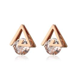 Wedding Party Jewelry Rose Gold-color Elegant Triangle Earrings For Female Gift