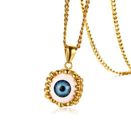 "Hip-hop Monster Eye Pendant Necklace For Men Stainless Steel 24"" Curb Chain"