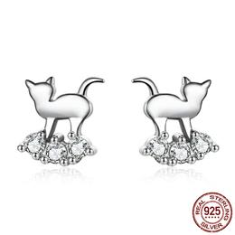 Hot Sale 925 Sterling Silver Crystal Cat Animal Earrings Stud