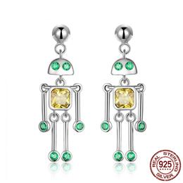 High Quality 925 Sterling Silver Little Robot Drop Earrings
