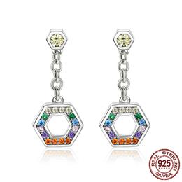Classic 925 Sterling Silver Colorful CZ Rainbow Geometric Drop Earrings