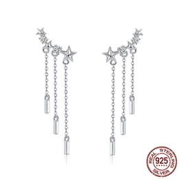 925 Sterling Silver Long Chain Star Dazzling CZ Drop Earrings