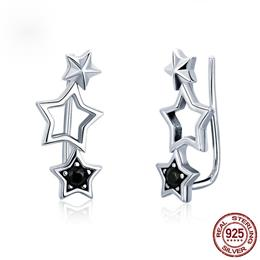 925 Sterling Silver Jewelry Earings Korean Fashion Star Drop Earrings
