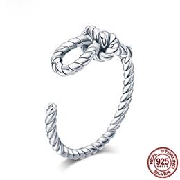 925 Sterling Silver Rope Knot Heart Shape Open Ajustable Finger Ring