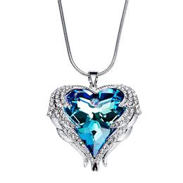New Women Heart Shaped Necklace Austrian Rhinestone Pendant Necklaces