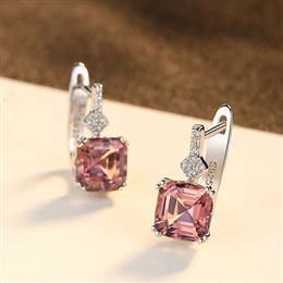 Fine Topaz925 Sterling Silver Stud Earring In color smoke or white Silve...