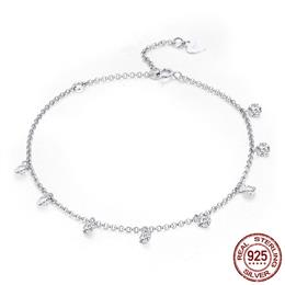 925 Sterling Silver Simple Geometric Crystal CZ Link Chain Bracelets