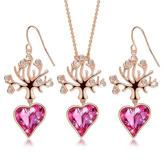 Pink Crystal Heart Tree of Life Pendant Necklace Dangle Earrings