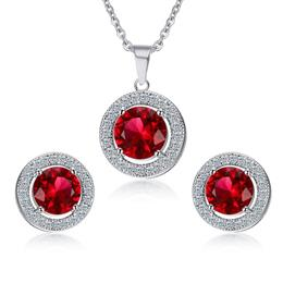 Big Round CZ Stone Necklace and Earrings Jewelry Sets For Women