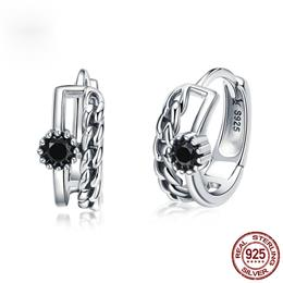 925 Sterling Silver Black CZ Vintage Hoop Earrings