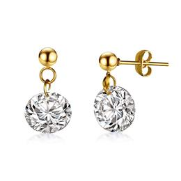 Well Cut AAA CZ Stone Elegant Stud Earring For Women Gold Color Stainless Steel Pin Female Girl