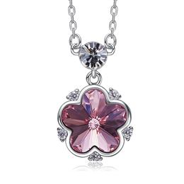 925 Sterling Silver Jewelry Hot Selling Crystals from Swarovski Flower Pendant Necklace