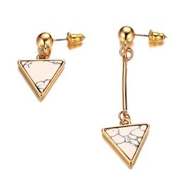 Irregular Women Drop Earrings Natural Stone Triangle Arrow Shape Stainless Steel  Earrings