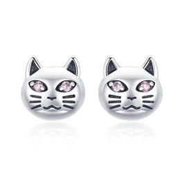 925 Sterling Silver Vintage Sticky Cat Small Stud Earrings