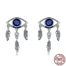 New Trendy 100% 925 Sterling Silver Guarding Blue Eyes Feathers Stud Earrings
