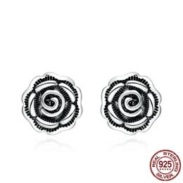Vintage Rose Flower Stud Earrings For Women Retro 925 Sterling Silver Earring
