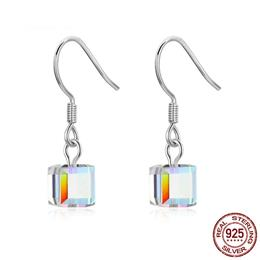 925 Sterling Silver Transparent Square Geometric Drop Earrings