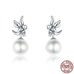 925 Sterling Silver Love Angel Clear CZ Stone Pearl Stud Earrings