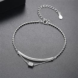 New Authentic 925 Sterling Silver Dancing Circle Clear Silver Adjustable Chain Bracelet