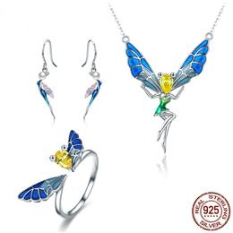 925 Sterling Silver Waterdrop CZ Blue Enamel Butterfly Fairy Tale Jewelry Set For Women