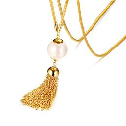 Trendy Long Tassel Necklace For Women Stainless Steel Chain