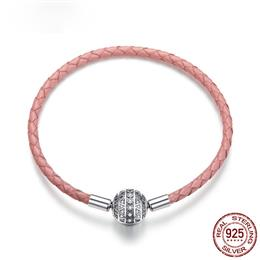 925 Sterling Silver Round Clasp Dazzling Clear CZ Leather Bracelets