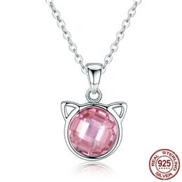 Genuine 925 Sterling Silver Cute Cat Pendant Necklaces with Pink Zircon for Women