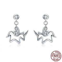 100% 925 Sterling Silver Trendy Licorne Memory Simple Line Geometric Stud Earrings